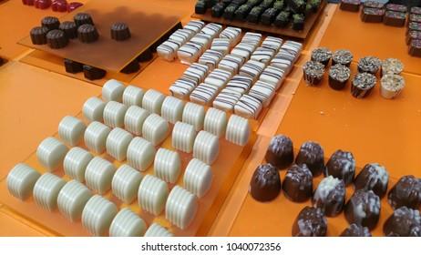 Brussels, Belgium - March 4 2018: Belgian pralines at Belgian Chocolate Fair 2018