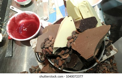Brussels, Belgium - March 4 2018: Belgian chocolate, cocoa beans and sirup at the cooking table at Belgian Chocolate Fair 2018