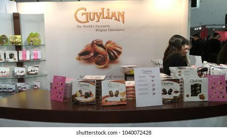 Brussels, Belgium - March 4 2018: Guylian chocolate maker stand at Belgian Chocolate Fair 2018