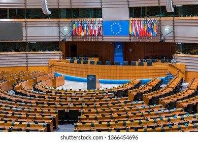 Brussels, Belgium - March 4, 2019: European Parliament Assembly Room, where members of the European Parliament (EP) vote to pass laws in the European Union (EU), where all the countries participate.