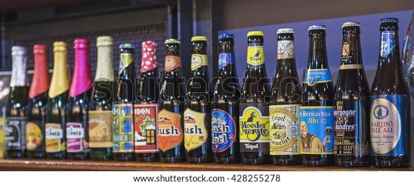 BRUSSELS, BELGIUM - MAY 02, 2016: Traditional Belgian beer bottles in Brussels, Belgium on 2 May, 2016.
