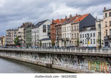 BRUSSELS, BELGIUM - MAY 11, 2014: View of Charbonnages Embankment near metro station Comte de Flandre (Graaf van Vlaanderen). Borough of Sint-Jans-Molenbeek.