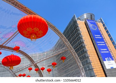 BRUSSELS, BELGIUM - May 12, 2018: Chinese lampions at the promotion of cultural exchange and tourism between EU and China near the building of the European Commission at Schuman roundabout.