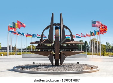 BRUSSELS, BELGIUM - May 13, 2019: Nato star sculpture in Brussels. NATO Headquarters - Political and Administrative Center for the North Atlantic Alliance