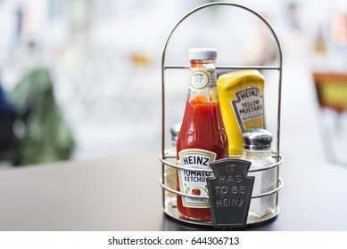 Brussels, Belgium May 14, 2017 : Heinz products in squeezable plastic bottles consisting of Tomato ketchup and yellow mustard