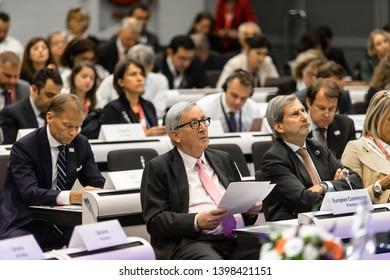 BRUSSELS, BELGIUM - May 14, 2019: European Commission President Jean-Claude Juncker at the Eastern Partnership Leaders Conference in Brussels