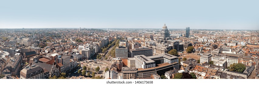 BRUSSELS, BELGIUM - May 14, 2019: Roofs and streets of Brussels. Panoramic aerial view on the streets of Brussels, Belgium. Beautiful view of capital city of Belgium