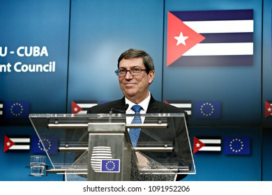 Brussels, Belgium May 15, 2018.Cuba's Foreign Minister Bruno Rodriguez and European Union foreign policy chief Federica Mogherini address a joint news conference after their meeting at the EU Council