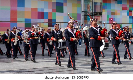 Brussels, Belgium - May 18, 2016 - Jordanian marching band in Brussels.
