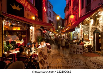 BRUSSELS, BELGIUM - MAY 19: Rue Des Bouchers on May 19, 2012 in Brussels. It is known as Brussel' belly, due to the many cafes and restaurants offering all kinds of local and international cuisine