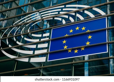 BRUSSELS, BELGIUM - MAY 20, 2015:  Logo of the European Parliament at the facade of European Parliament building in Leopold Square.