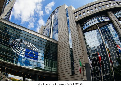 BRUSSELS, BELGIUM - MAY 20, 2015: Exterior of the building of the European Parliament in Brussels, Belgium. it exercises the legislative function of the EU.
