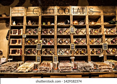 BRUSSELS, BELGIUM - May 2019: Traditional Chocolate and confectionery shop with big choice of chocolates and sweets in Brussels downtown, Belgium
