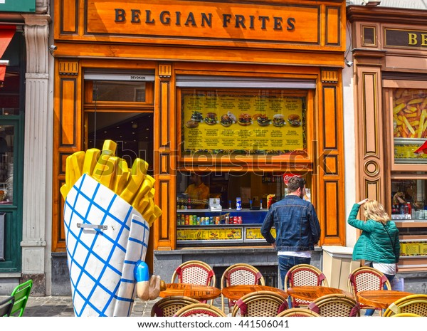 BRUSSELS, BELGIUM - MAY 21, 2016: Fast food restaurant in Brussels, selling Belgian French fries. French fries made the Belgian way are very tasty and enjoyed by local people and visitors as well.