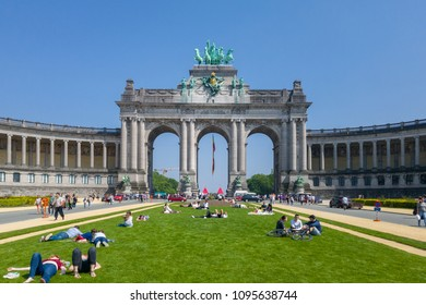 Brussels, Belgium - May 21, 2018 : Park of the Fiftieth Anniversary (Parc du Cinquantenaire) is a large public, urban park in the easternmost part of the European Quarter in Brussels, Belgium.