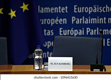 Brussels, Belgium. May 22th, 2018. The plenary room wher Facebook's CEO Mark Zuckerberg meets with leaders of the European Parliament.