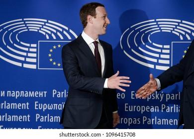 Brussels, Belgium. May 22th, 2018. Facebook's CEO Mark Zuckerberg shakes hands with European Parliament President Antonio Tajani at the European Parliament.