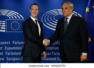 Brussels, Belgium. May 22th, 2018. Facebook's CEO Mark Zuckerberg shakes hands with European Parliament President Antonio Tajani at the European Parliament.