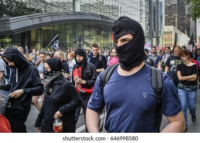 BRUSSELS - BELGIUM - May 24: Protest march Trump not welcome in Brussels on May 24, 2017