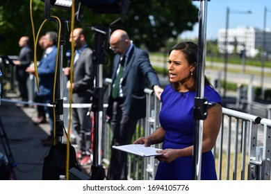 BRUSSELS, BELGIUM - MAY 25, 2017: Journalist reporting from outside the new NATO headquarters, before the NATO Summit in Brussels.