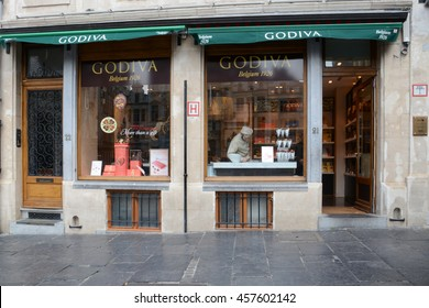 BRUSSELS, BELGIUM - MAY 28, 2015: Godiva Chocolatier founded in Belgium in 1926 is a manufacturer of premium chocolates and related products. Godiva owns and operates more than 600 stores globally.