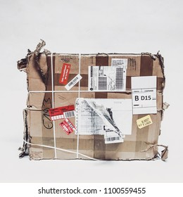 Brussels, Belgium, May 29, 2018, Broken and damaged parcel from the belgian and french postal service