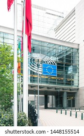 Brussels, Belgium - May 3, 2019: Glass European Parliament Building in Brussels, Belgium