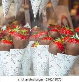 BRUSSELS, BELGIUM - MAY 31, 2015: Godiva macro chocolate covered strawberries on May 31, 2015 in Brussels, Belgium.