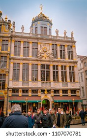 Brussels, Belgium, May, 31, 2018: Outdoor view of brussels ancient buildings on the famous Grand Place in Brussels