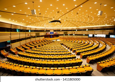 BRUSSELS, BELGIUM - MAY 31, 2019: Plenary hall of European parliament in Brussels.