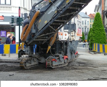 Brussels, Belgium - May 3rd 2018: Road rehabilitation works on Chausse d'Ixelles in Ixelles, Brussels.