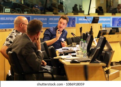 BRUSSELS / BELGIUM - May of 8, 2018: A young trade unionist from European Trade Unions Confederation making a speech in a meeting which was organised at European Economic and Social Council.