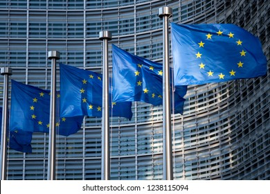 Brussels, Belgium - Nov 17.2018: EU ( European Union) flags in front of European Commission building.