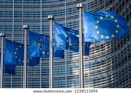 Brussels, Belgium - Nov 17.2018: EU ( European Union) flags in front of European Commission building.