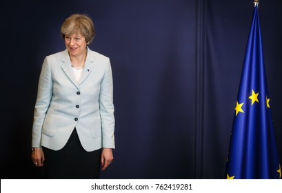 BRUSSELS, BELGIUM - Nov 24, 2017: British Prime Minister Teresa May at the Fifth Eastern Partnership Summit
