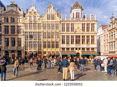BRUSSELS, BELGIUM, November 03 2018: People at Grand Square or Grand Place during sunny autumn day in Brussels, Belgium.