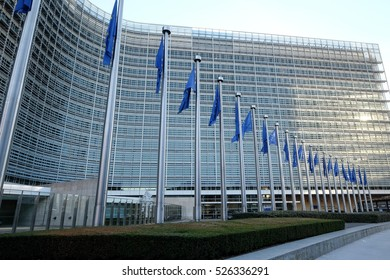 BRUSSELS, BELGIUM - November 30, 2016:The Berlaymont is an office building that houses the headquarters of the European Commission, which is the executive of the EU, on November 30 in Brussels