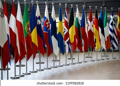 Brussels, Belgium Oct. 10, 2018. Flags of member of Europe in EU Council building.