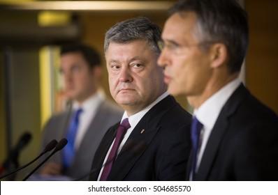 BRUSSELS, BELGIUM - Oct 20, 2016: NATO Secretary General Jens Stoltenberg during a joint briefing with President of Ukraine Petro Poroshenko