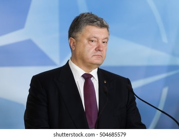 BRUSSELS, BELGIUM - Oct 20, 2016: President of Ukraine Petro Poroshenko during a joint briefing with NATO Secretary General Jens Stoltenberg in Brussels
