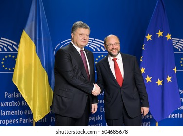 BRUSSELS, BELGIUM - Oct 20, 2016: President of Ukraine Petro Poroshenko during a meeting with European Parliament President Martin Schulz in Brussels