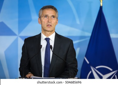 BRUSSELS, BELGIUM - Oct 20, 2016: Portrait of NATO Secretary General Jens Stoltenberg during a joint briefing with President of Ukraine Petro Poroshenko