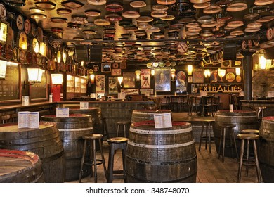 BRUSSELS, BELGIUM - OCTOBER 05, 2015:  Delirium Cafe known for its long beer list, standing at 2.004 different brands in January 2004 as recorded in the The Guinness Book of Records.