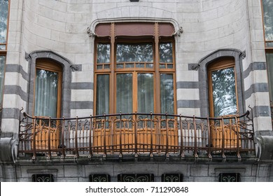 Brussels, Belgium - October 12, 2016: Balcony of the Hotel Solvay in Brussels, Belgium. The Hotel Solvay is a large art nouveau house designed by Victor Horta in 1898.