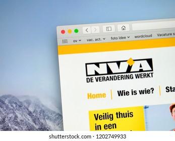 Brussels, Belgium - October 13, 2018: Website of The New Flemish Alliance (Dutch: Nieuw-Vlaamse Alliantie, N-VA), a Flemish nationalist and conservative political party in Belgium.