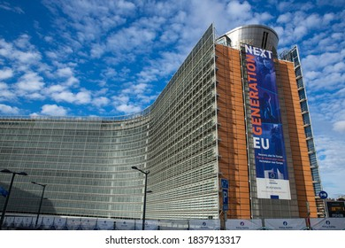 Brussels, Belgium - October 15, 2020: European Commission with a blue sky