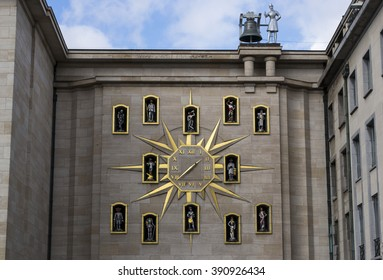 Brussels, Belgium - October 17, 2014: Le Carillon du Mont des Arts is a Carillion clock at Mont des Arts Kunstberg with 24 bells found on a arch of the Mont des Arts.