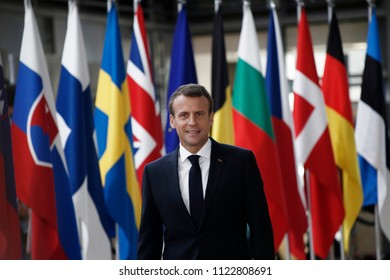 Brussels, Belgium on Jun. 28, 2018. President of France Emmanuel Macron arrives for a meeting with European Union leaders.