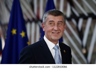 Brussels, Belgium on Jun. 28, 2018. Prime Minister of Czech, Andrej Babis arrives for a meeting with European Union leaders.