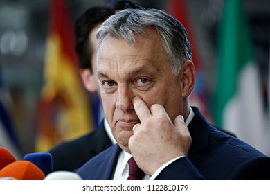 Brussels, Belgium on Jun. 28, 2018.Prime Minster of Hungary Victor Ornab arrives for a meeting with European Union leaders.